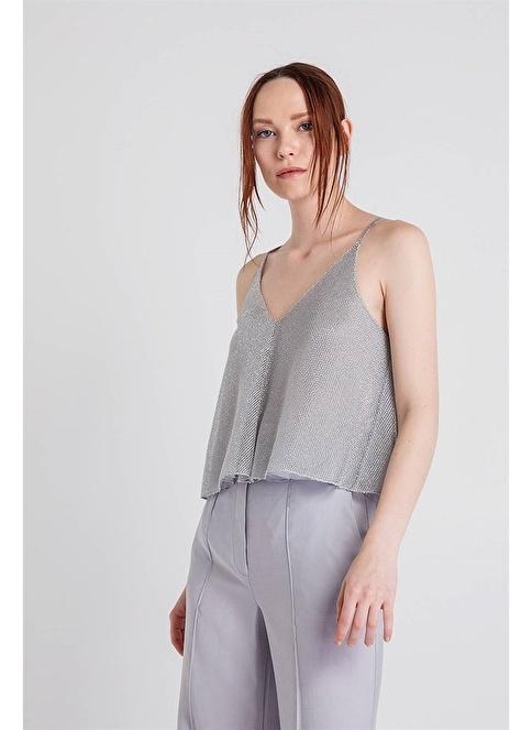 Rue Omuzları Açık Askılı Bluz Gümüş